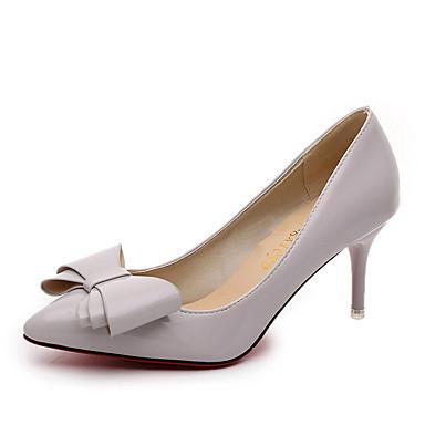 Damen Schuhe PU Sommer Cloggs & Pantoletten Kitten Heel-Absatz Schleife für Normal Kleid Schwarz Grau Rot Rosa