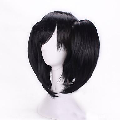 Syntetiske parykker / Kostumeparykker Lige / Dyb Bølge Assymetrisk frisure Syntetisk hår Natural Hairline Sort Paryk Dame Kort Lågløs