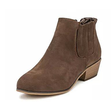 Feminino-Botas-Botas da Moda-Salto Baixo-Preto Caqui-Flanelado-Casual