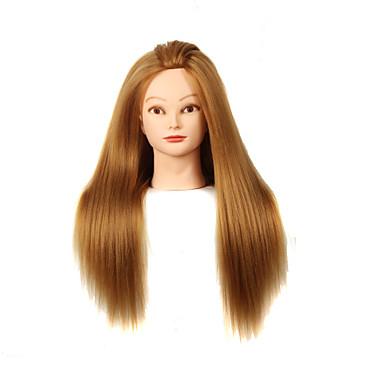 yaki syntetisk frisørsalong kvinnelige utstillingsdukke hodet med make-up