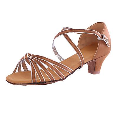للمرأة بوط رقص اصطناعي كعب كعب مخصص مخصص أحذية الرقص بني / أزرق / داخلي