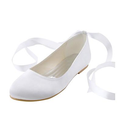 נשיםסאטן נמתח-נוחות-לבן-חתונה שמלה מסיבה וערב-עקב שטוח