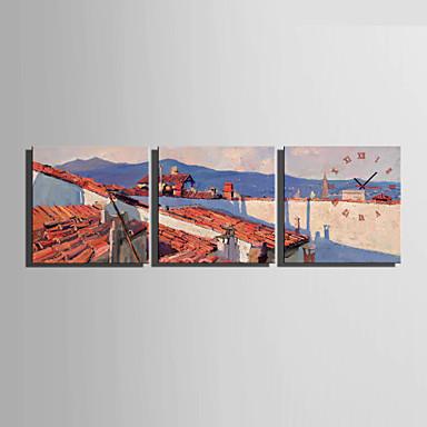 コンテンポラリー その他 壁時計,方形 キャンバス 40 x 40cm(16inchx16inch)x3pcs/ 50 x 50cm(20inchx20inch)x3pcs/ 60 x 60cm(24inchx24inch)x3pcs 屋内 クロック