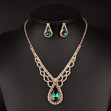 Femme Set de Bijoux Cristal Strass Mode Mariée Strass Colliers décoratifs Boucles d'oreille Pour Mariage Soirée Occasion spéciale