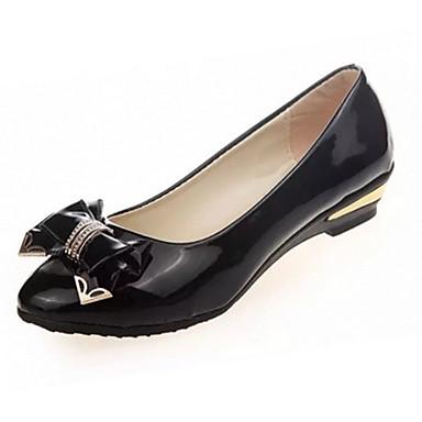 Mulheres Sapatos Couro Ecológico Verão Saltos Salto Baixo Laço Preto / Bege / Rosa claro
