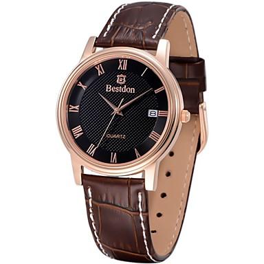 Masculino Relógio de Moda Quartz / Quartzo Japonês Impermeável / Relógio Casual Couro Banda Preta / Marrom marca