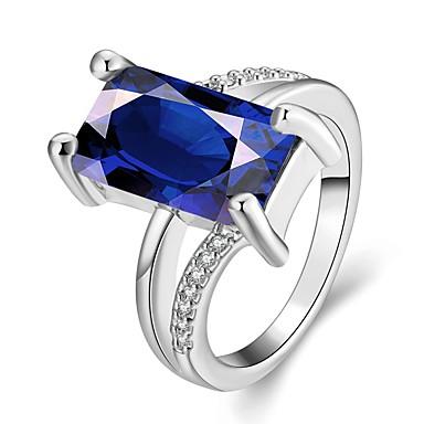 בגדי ריקוד נשים טבעת הטבעת זהב ורד כחול ים אבן יקרה ציפוי זהב ריבוע וינטאג' מסיבה עבודה אלגנטי אופנתי חתונה Party יומי תכשיטי תלבושות