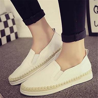 נשים נעליים PU קיץ נוחות שטוחות שטוח עבור קזו'אל לבן שחור
