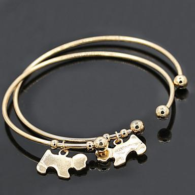 baratos Bangle-Mulheres Bracelete Pulseiras Algema Cachorros Animal Vintage Liga Pulseira de jóias Prata / Dourado Para Presentes de Natal Diário Casual