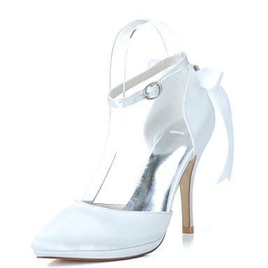 Női Cipő Szatén Tavasz Nyár Formai cipő Esküvői cipők Tűsarok Erősített lábujj Strasszkő Csokornyakkendő mert Esküvő Party és Estélyi