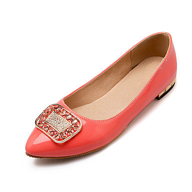 Damen-Flache Schuhe-Büro / Lässig-Lackleder-Flacher Absatz-Komfort / Spitzschuh-Schwarz / Rosa / Weiß