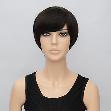 Damen Synthetische Perücken Kurz Glatt Schwarz Schwarze Perücke Kostüm Perücken
