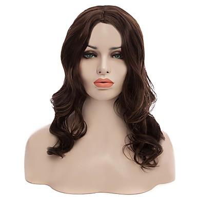 peruca sintética natural a longo cor popular onda marrom para a mulher