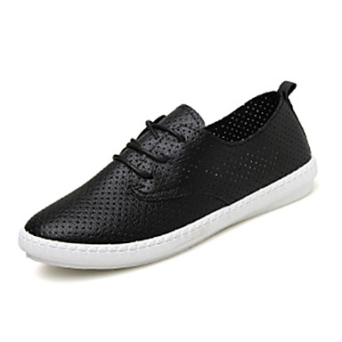 Sko-PU-Flat hæl-Stiler / Rund tå-Trendy sneakers-Fritid / Formell-Svart / Hvit