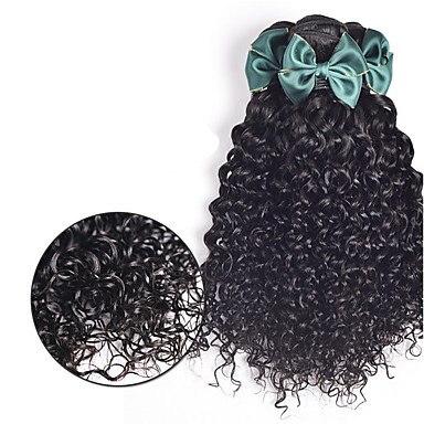 ブラジリアンヘア 人間の髪編む ウォーターウェーブ ヘアエクステンション 3個 ブラック ダークブラウン ミディアムブラウン ブラック