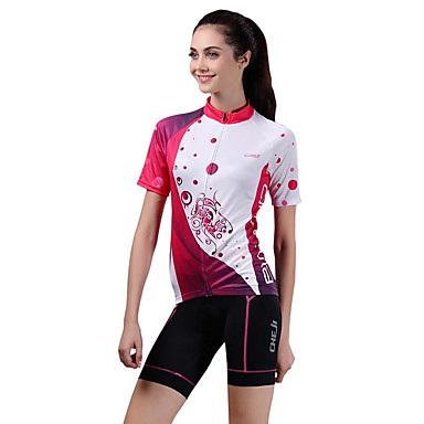 Camisa com Shorts para Ciclismo Mulheres Manga Curta Moto Blusas Calças Conjuntos de Roupas Respirável Redutor de Suor Elastano Primavera