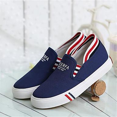 בגדי ריקוד נשים נעליים PU קיץ נוחות שטוחות שטוח שחור / אפור / כחול