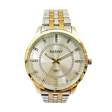 בגדי ריקוד גברים שעוני אופנה קווארץ שעונים יום יומיים מתכת אל חלד להקה כסף זהב