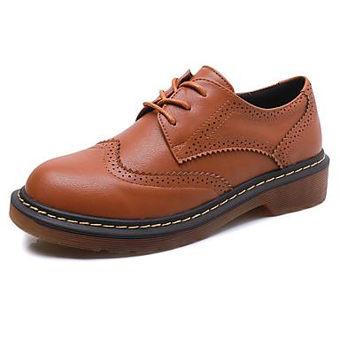 Feminino Sapatos Courino Outono Conforto Rasos Salto Baixo Cadarço Para Casual Branco Preto Amarelo