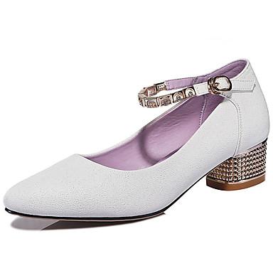 Femme Chaussures Similicuir Printemps Eté Automne Talon Bas Pour Habillé Blanc Beige