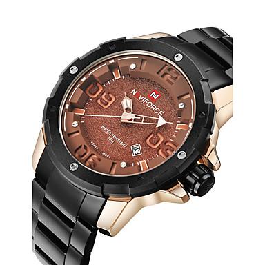 NAVIFORCE Herrn Armbanduhr Militäruhr Modeuhr Quartz Japanischer Quartz Kalender Wasserdicht Edelstahl Band Cool Schwarz