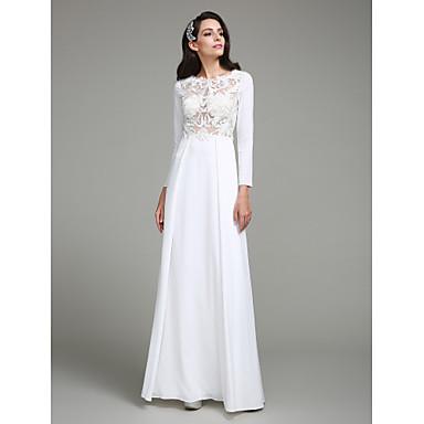 Sütun Taşlı Yaka Yere Kadar Şifon Aplik Düğme ile Resmi Akşam Elbise tarafından TS Couture®