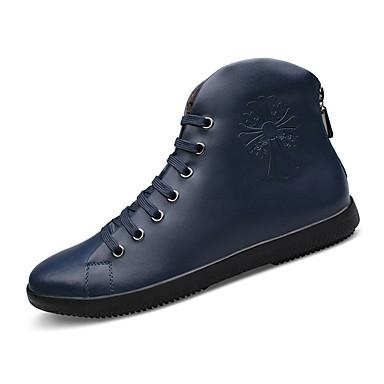 Homens sapatos Pele Inverno Conforto Botas Preto / Azul Escuro