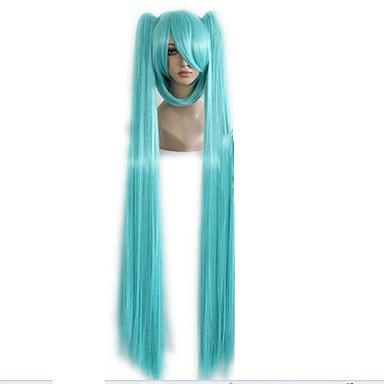 billige Kostymeparykk-Syntetiske parykker Kostymeparykker Rett Stil Med hestehale Lokkløs Parykk Grønn Syntetisk hår Dame Grønn Parykk hairjoy