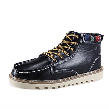 Herre-Lær-Flat hæl-Komfort Snøstøvler Motestøvler-Støvler-Friluft Kontor og arbeid Fritid-Svart Blå Brun