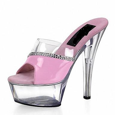 Mujer-Tacón Stiletto-Plataforma Zapatos del club Light Up Zapatos-Tacones-Boda Informal Fiesta y Noche-Cuero Patentado PVC-Negro Rosa