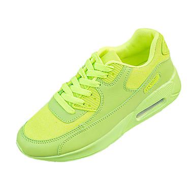 Feminino-Tênis-Conforto-Rasteiro-Preto Verde Vermelho Branco-Tule Couro Ecológico-Para Esporte