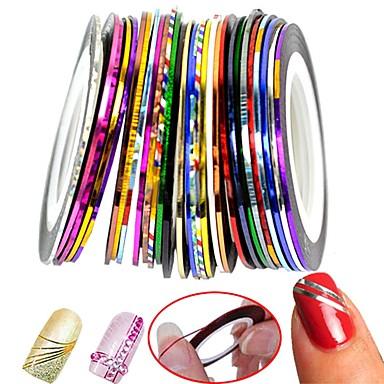 30 pcs Nail Foil Striping Tape Negle kunst Manicure Pedicure Klassisk Daglig / Folie Stripping Tape