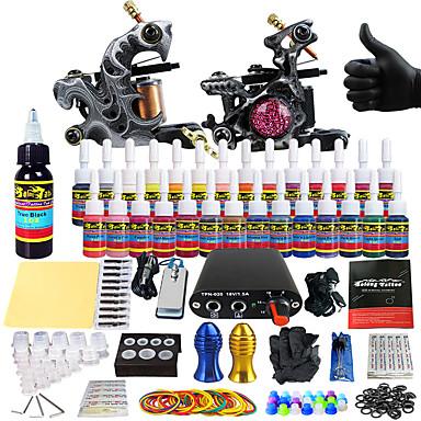 Tattoo Machine Starter Kit 2 alloy machine liner & shader Mini power supply 2 x aluminum grip 20 pcs Tattoo Needles