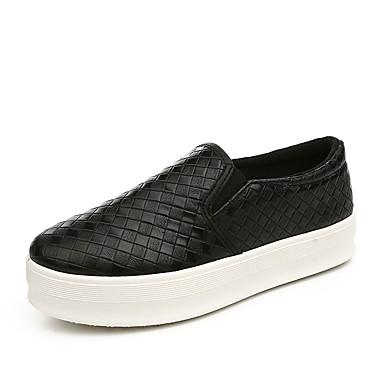 Loafers og Slip-ons-Læder-Komfort-Dame-Sort / Hvid / Sølv-Udendørs / Hverdag / Sport-Platå