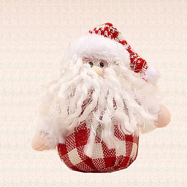 1pc juletræ dekoration rødt hvid gitter santa claus vedhæng nytår hjem forsyninger