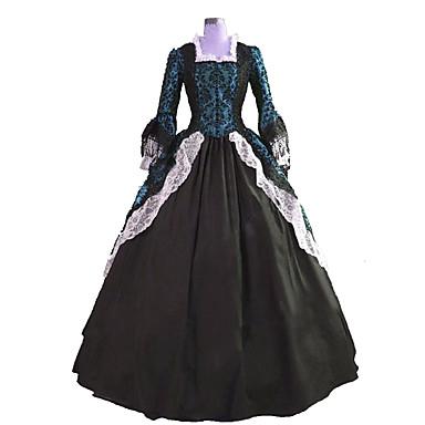 Et-Stykke/Kjoler Gotisk Lolita Steampunk® Victoriansk Cosplay Lolita Kjoler Trykt mønster Langærmet Lang Længde Kjole TilBlonder Lærred