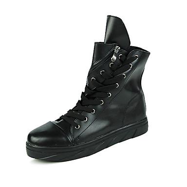 Støvler-Mikrofiber-Komfort-Herre-Sort Hvid Sort og Hvid-Udendørs Fritid Fest/aften-Flad hæl