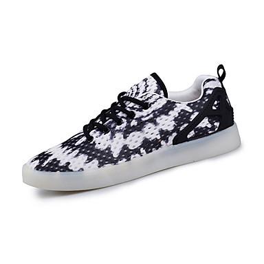 Sneakers-Tyl-Komfort-Dame-Orange Sort og Hvid-Fritid Sport-Flad hæl