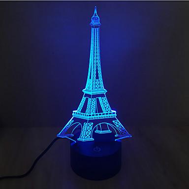 eiffel tårn berøring dimming 3d led natt lys 7colorful dekorasjon atmosfære lampe nyhet belysning lys