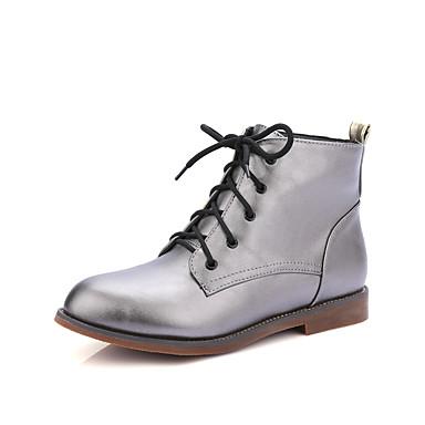 Støvler-Kunstlæder-Modestøvler-Dame-Sort / Hvid / Grå-Hverdag / Formelt-Lav hæl