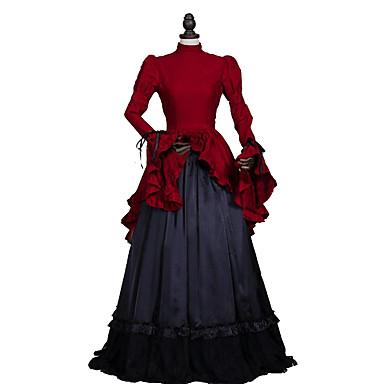 Rokoko Viktorianisch Kostüm Damen Kleid Party Kostüme Maskerade Rot Vintage Cosplay Spitze Leinen Satin Langarm Normallänge Ballkleid Halloween Kostüme