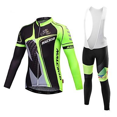 Malciklo Maillot de Ciclismo con Mallas Bib Hombre Manga Larga Bicicleta Camiseta/Maillot Pecheros/Mallas Largas Con Tirantes/Corsario