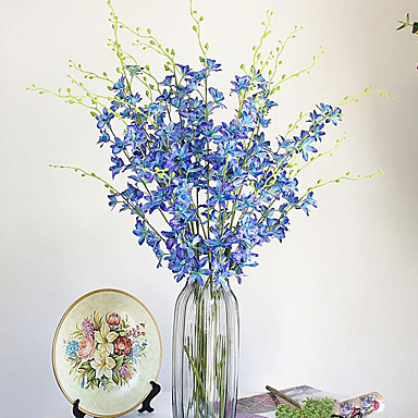 1 Afdeling Polyester Plastik Orkideer Bordblomst Kunstige blomster 100(39.3'')
