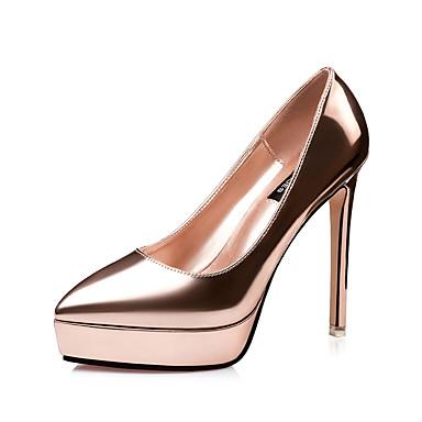 Feminino Sapatos Courino Verão Saltos Salto Agulha Para Casual Social Cinzento Vermelho Camel Dourado Champanhe