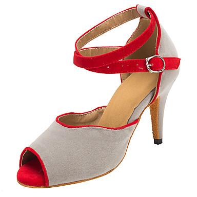 Damer Latin Salsa Velouriseret Sandaler Hæle Professionel Indendørs Spænde Personligt tilpassede hæle Lysegrå Personligt tilpasset hæl
