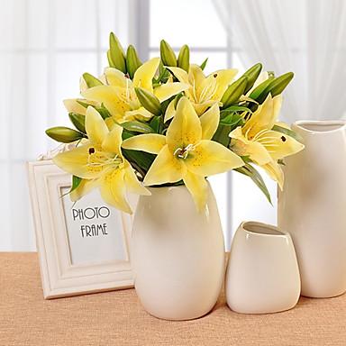 10 10 Afdeling PU Liljer Bordblomst Kunstige blomster 36CM