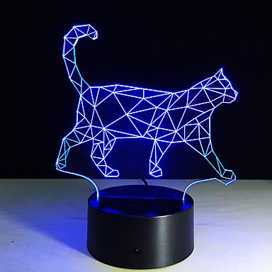 新しい歩行猫3D常夜灯アクリル立体1PCカラフルなランププラグイン勾配の雰囲気ランプを主導