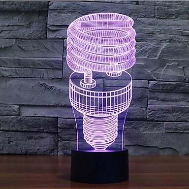 espiral toque escurecimento 3D conduziu a luz da noite 7colorful decoração atmosfera lâmpada de iluminação novidade luz de Natal