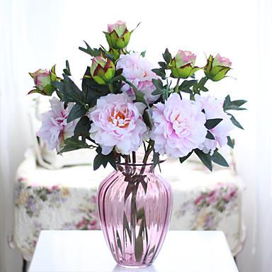 1pc 1 Afdeling Polyester / Plastik Pæoner Bordblomst Kunstige blomster 20.86inch/53CM