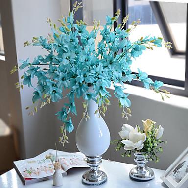 1 Afdeling Polyester Plastik Orkideer Bordblomst Kunstige blomster